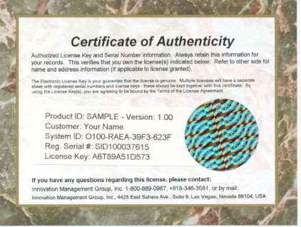 Innovation Management GroupS Certificate Of Authenticity Images