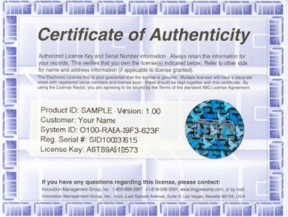 Innovation Management Group'S Certificate Of Authenticity Images