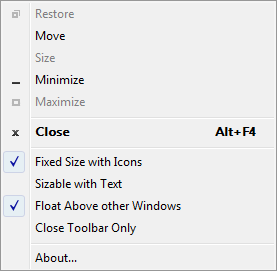 The Magnifier Toolbar menu